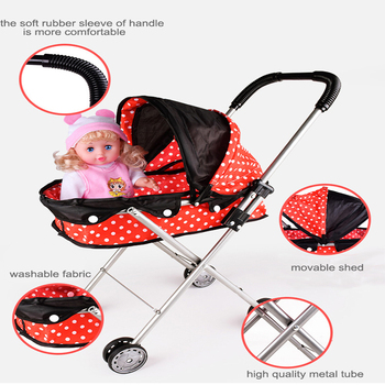 Children Doll Stroller Toy Baby Play House Ladybug Trolley Not Including Simulation Doll Toy Organizer Cart 1