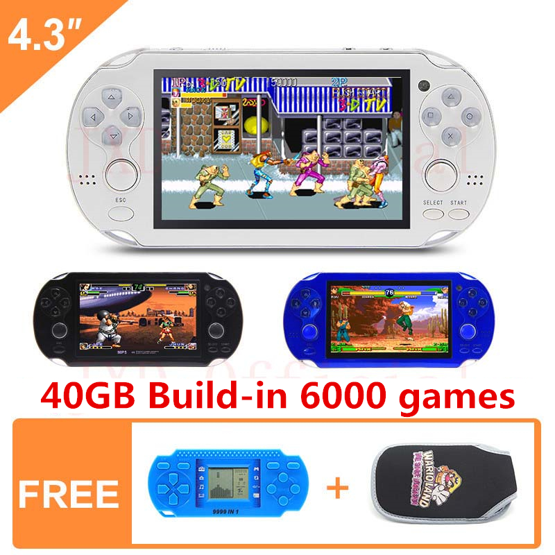 JXD 40G handheld game <font><b>console</b></font> <font><b>4.3</b></font> Inch mp4 player video game <font><b>console</b></font> 64Bit built-in 6000 games for neogeo/cps/gba/gbc/gb/fc/smd image
