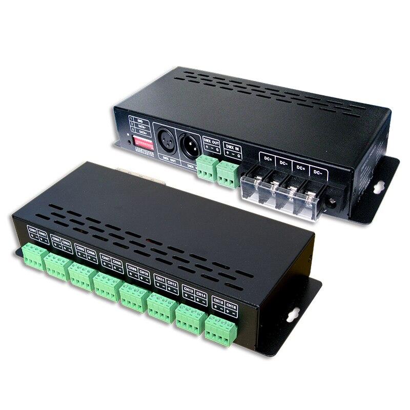 New LTECH Led DMX Decoder 16CH CC RGB Strip DMX Decoder;DC12-48V in 350mA*16CH output DC3-42V Output 16 Channel DMX-PWM Decoder new ltech led dmx decoder 4ch cc rgb strip dmx decoder dc12 48v in 700ma 4ch output dc12 46v output 4 channel dmx pwm decoder