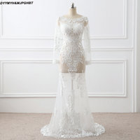 Sexy Sheer Lace Evening Dress O Neck Zipper Back Illusion Transparent Long Sleeve Formal Party Dress