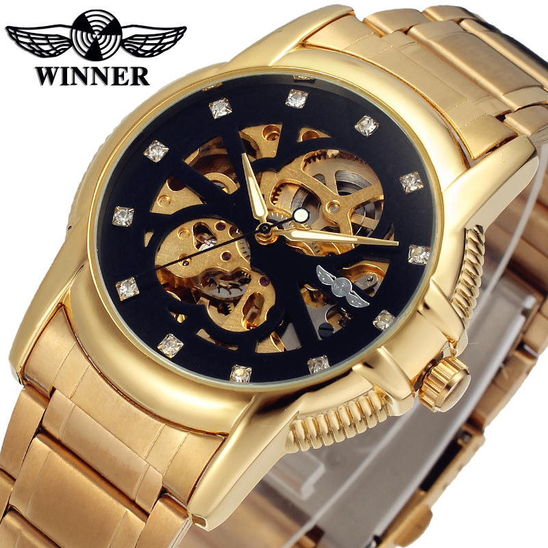 Fashion WINNER Men Luxury Brand Gold Skeleton Stainless Steel Watch Automatic Mechanical Wristwatches Gift Box Relogio Releges fashion men mechanical hand wind watches men skeleton stainless steel wristwatches for male luxury golden watch men