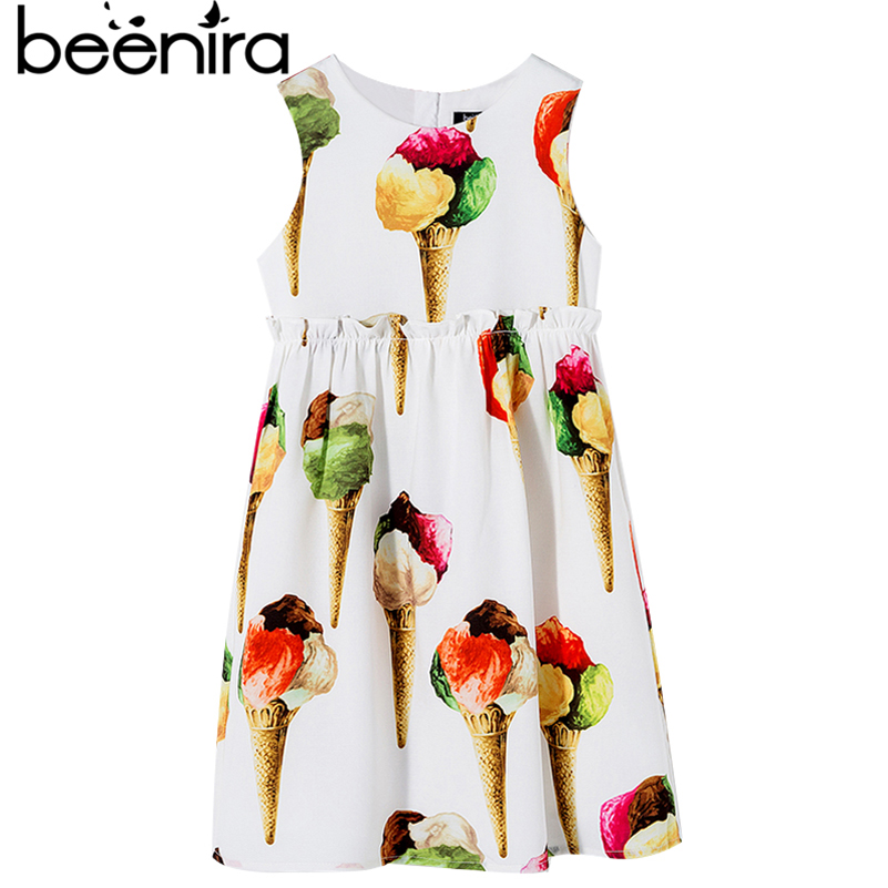Beenira Children Clothes 20107 New Fashion Style Kids Ice-Cream Pattern Printed Sleeveless Dresses For 4-14Y Girls Summer Dress calvin klein new cream woven panel sleeveless dress msrp $229 dbfl