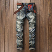 New design fashion retro spliced patch jeans nightclub men trousers scratched embroidery plaid denim pants motocycle jeans male