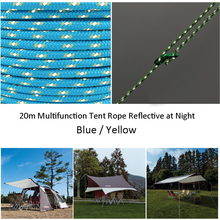 5MM 20m Multifunction Tent Rope Reflective at Night Tent Accessories Outdoor Sports Camping Hiking Cord Fluorescent Line 1PC acecamp 9083 5mm glow in the dark camping tent rope yellow white 30m