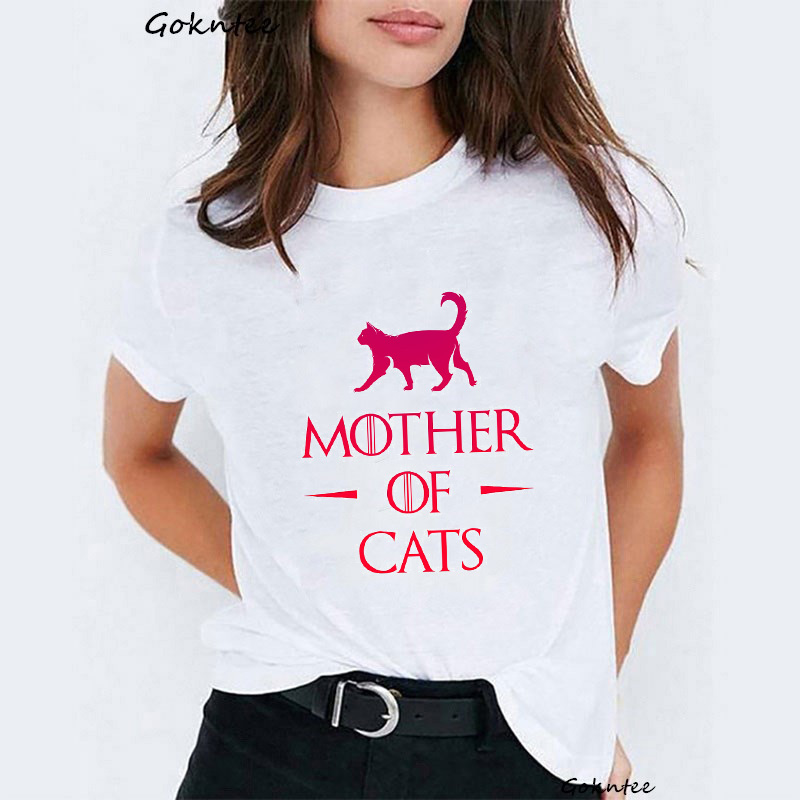 Mother of cats t shirt Women Dracarys camiseta mujer tshirt vintage funny white t shirt Top Mother of Dragon harajuku summer tee in T Shirts from Women 39 s Clothing