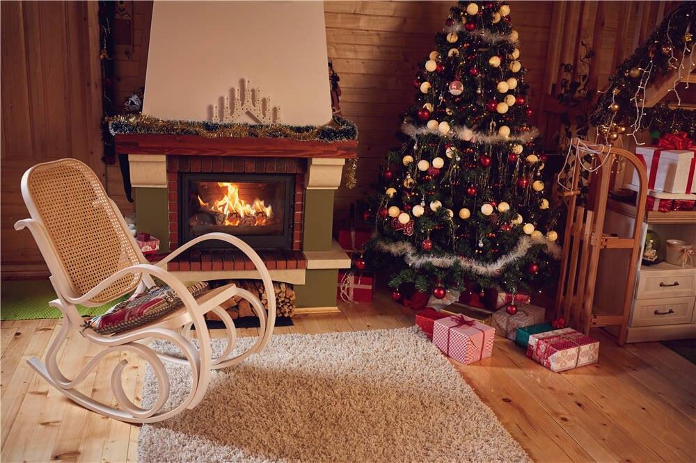 KIDNIU Rocking Chair Baby Photography Background Christmas Tree Photo Studio Vinyl Backdrops 7x5ft or 5X3ft Christmas119