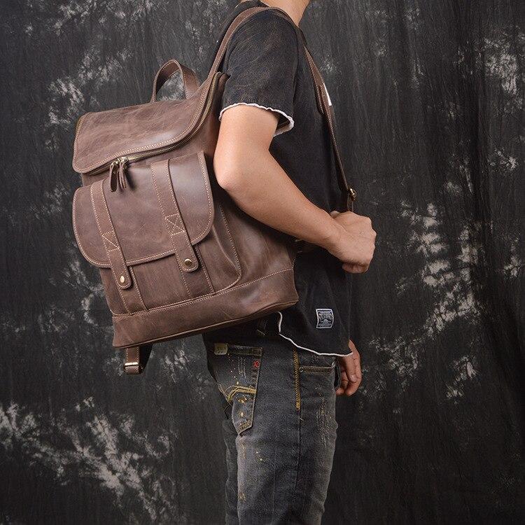 2018 New Fashion Genuine Leather Men Bag & Women Bag High Capacity Shoulder Bag Fashion Travel Backpack