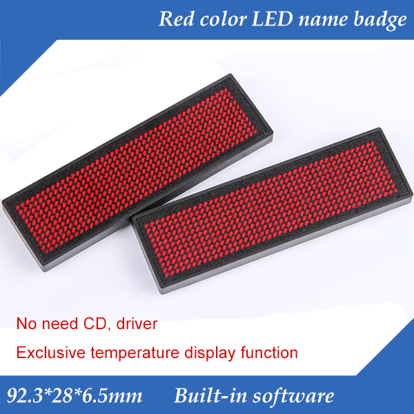 44x11 Dots Red Color Scrolling Message LED Name Badge,  Rechargeable LED Name Tag