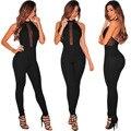 Летом стиль женщины комбинезон новый длинные брюки комбинезоны без спинки плюс размер черный габаритные женщины