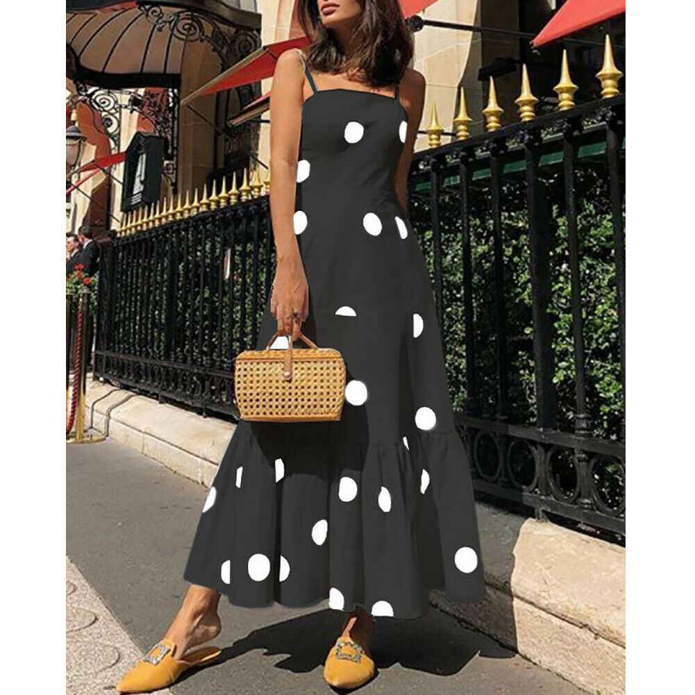 Yeni moda kadın yaz Boho Casual uzun Maxi elbise kız bayan Strappy Polka Dot tatil parti plaj elbise sundress