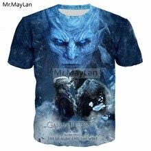 2019 Newest HBO TV Game of Thrones Night King Jon Dany 3D Print T shirt Men Punk Streetwear Blue T-shirt Tee Youth Man Tshirt