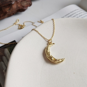 Image 3 - LouLeur 925 sterling silver Pleat ripple moon pendant necklace gold creative design elegant necklace for women festival jewelry