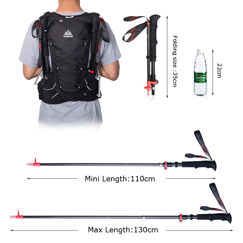AONIJIE Adjustable Folding Ultralight Carbon Fiber Quick Lock Trekking Poles Hiking Pole Walking Running Stick-in Walking Sticks from Sports & Entertainment    3
