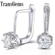 Trangems Platinum Plated Sterling Silver 1ctw 5mm HI Color moissanite Simulated Diamond Hoop Earrings for Women