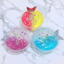 60ml Mermaid Crystal Mud Mixing Cloud Slime Putty Scented Stress Relief Non Toxic Slime Decompression DIY Festival Party Decors(China)