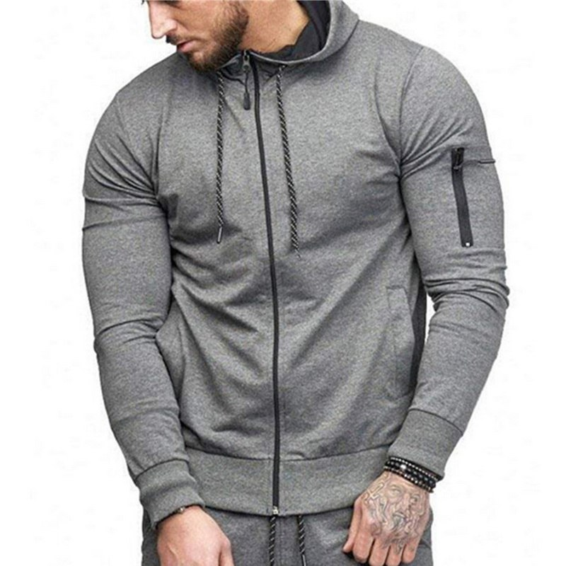 HTB1hy XatfvK1RjSszhq6AcGFXaI HEFLASHOR Men Drawstring Sportwear Set Fashion Solid Sweatshirt&Pants Tracksuit Casual Zipper Hoodies Outwear Clothes 2019