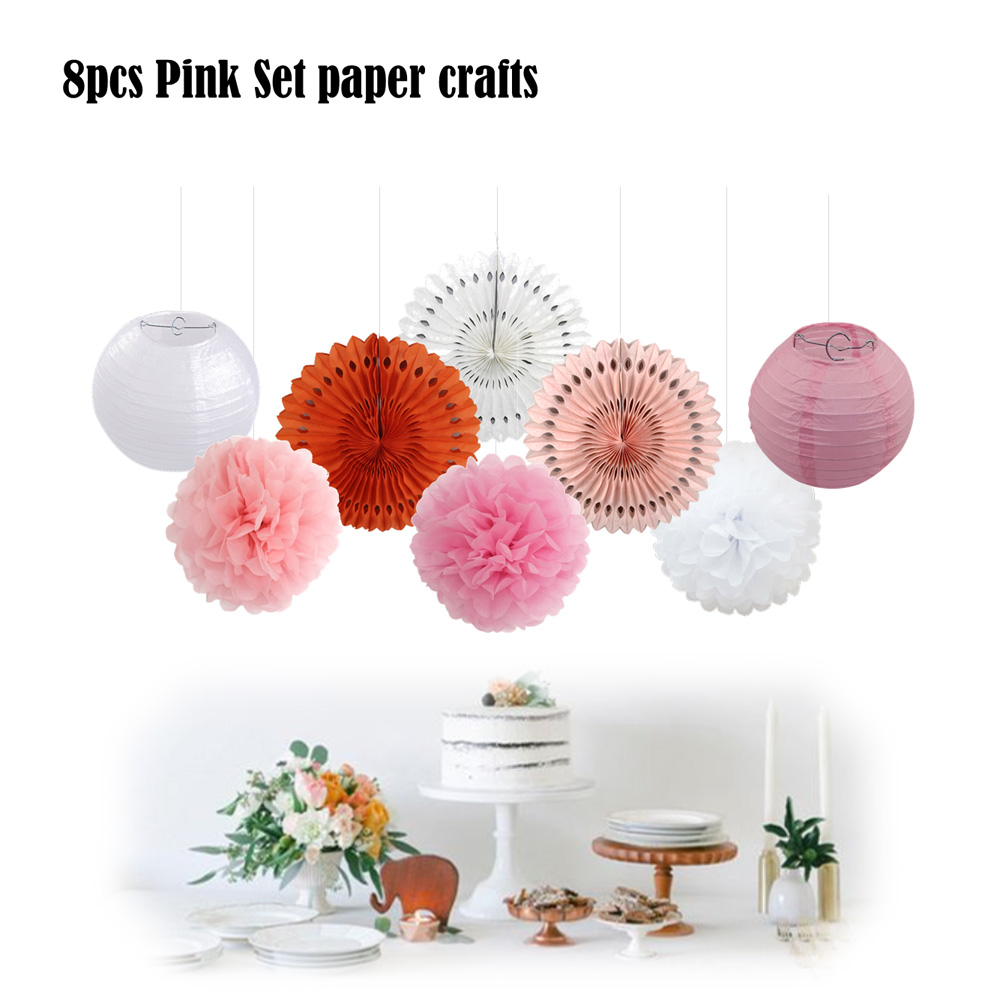 Birthday party backdrop tissue paper pom poms product on alibaba com - Pink Set 10 Party Decorative Tissue Paper Pom Pom Baby Shower Hanging Paper Fans Crafts Decor White Ball Lanterns For Birthday