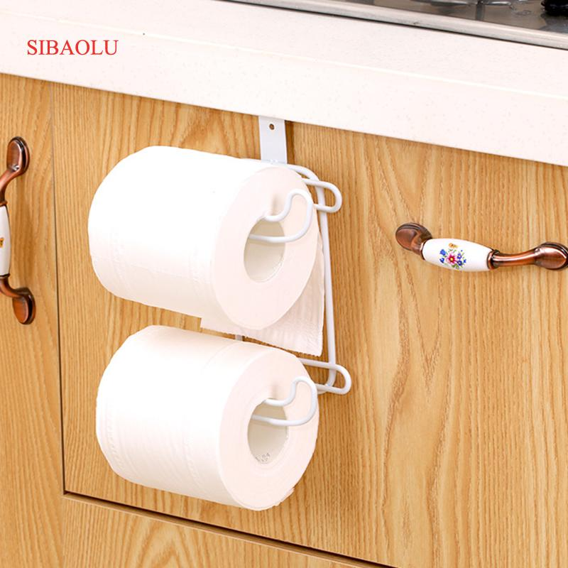 2 Layers Bathroom Hanging Organizer Toilet Roll Paper Holder Kitchen Cupboard Door Towel Tissue Storage Hanger