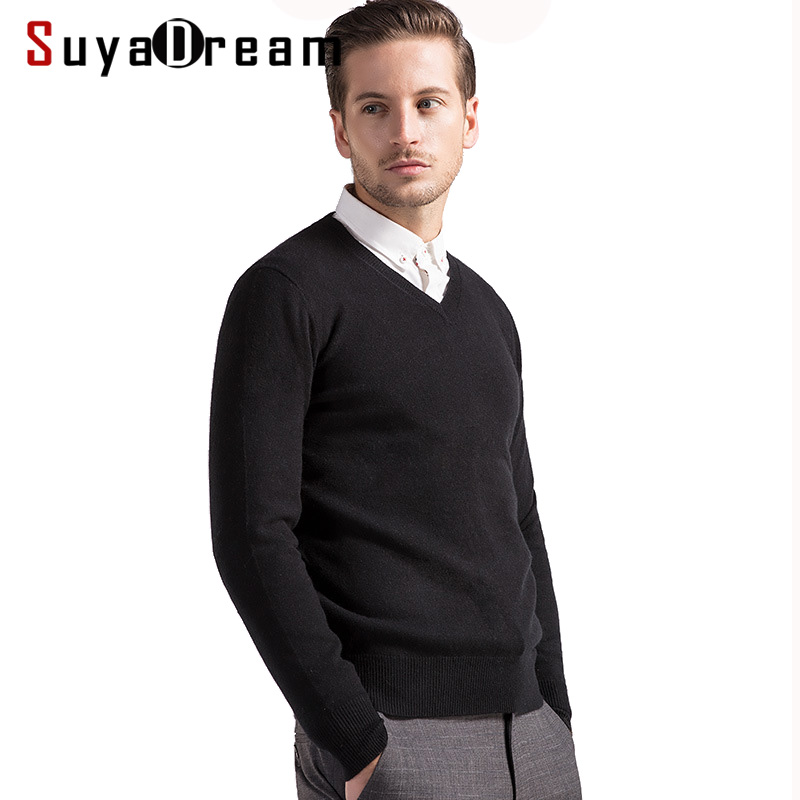 Mens Wool Pullover 100%Cashmere V Neck Sweater For Men 2019 Fall Winter Sweaters Bottoming Knitwear Black