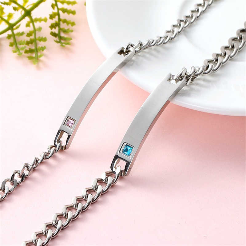 Personalized fashion lovers Bracelet Chain Stainless steel titanium jewelry with zircon light plate Bracelet