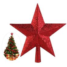 4.5 inch Treasures Red Glittered Mini Star Christmas Tree Topper(China)