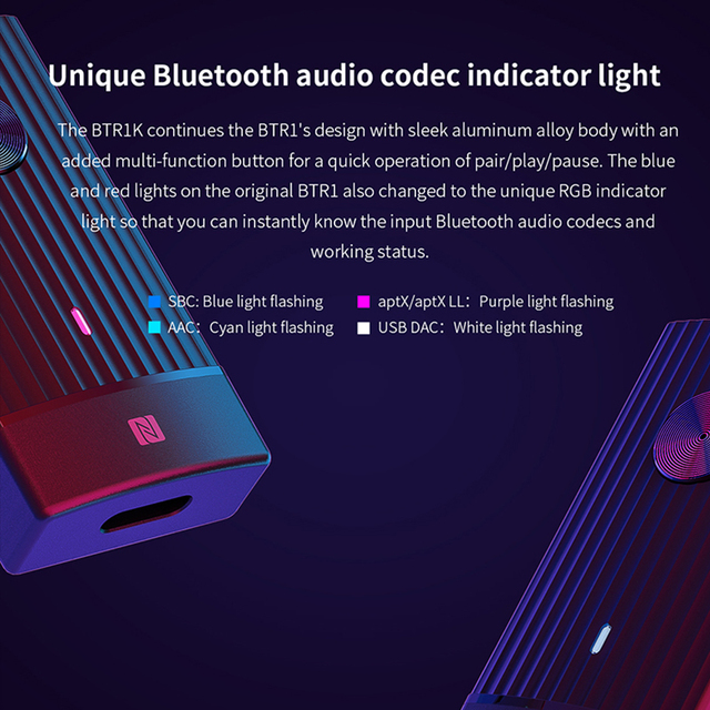 FIIO BTR1K Wireless Bluetooth 5.0 Portable Headphone Amplifier Noise-Cancelling USB DAC Audio Receiver with MIC support NFC 4