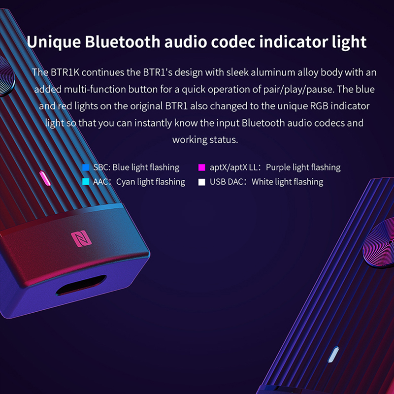 FIIO BTR1K sans fil Bluetooth 5.0 amplificateur de casque Portable réduction du bruit USB DAC récepteur Audio avec support MIC NFC - 4