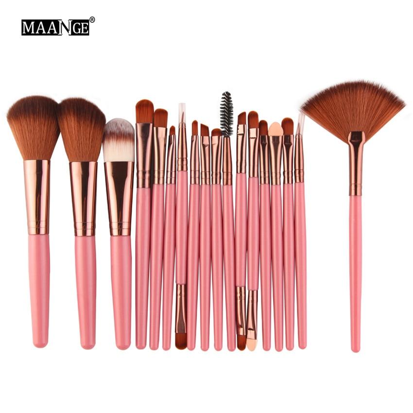 18 Pz/lotto Marca Pennelli Trucco Brush Set maquiagem Cosmetici Potenza Foundation Blush Ombretto Miscelazione Fan Make Up Kit di Bellezza