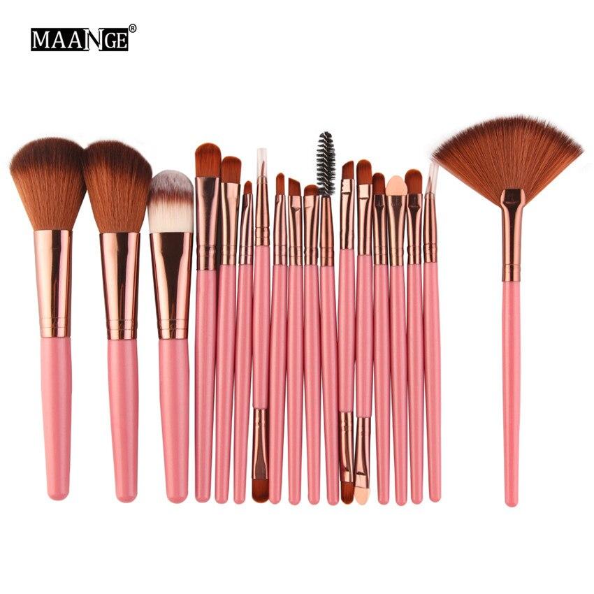 18 uniunids/lote juego de brochas de maquillaje de marca maquiagem Cosmetics Power Foundation rubor sombra de ojos mezcla ventilador maquillaje Kits belleza