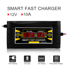 цены на Full Automatic Smart Battery Charger 12V 10A Lead Acid/GEL LCD Display EU/US Plug Smart Fast Car Battery Charger  в интернет-магазинах
