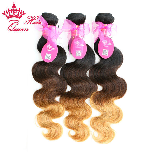 Ombre Hair Extensions Queen Hair Products Brazilian Body Wave 3 Tone #1b/#4/#27 Remy Human Hair Weave 3pcs/Lot