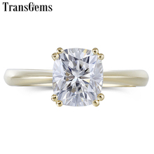 Transgems Classic 14K 585 Yellow Gold 7X8mm F Color Cushion Cut Moissanite Engagement Ring for Women Wedding Gift Gold Ring недорого