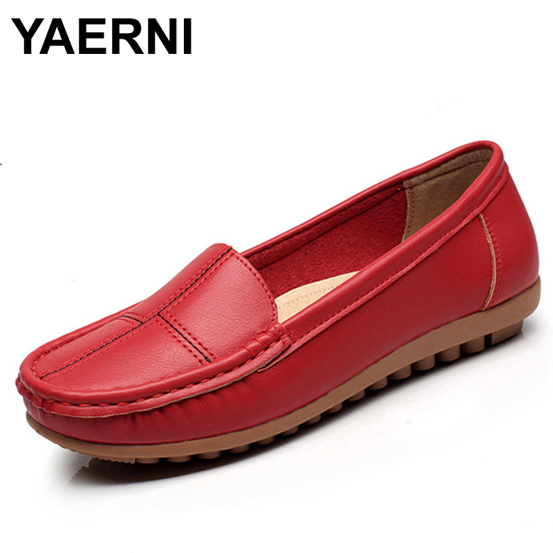 YAERNI leather shoes middle-aged mother shoes Women Slip on Casual shallow mouth flat Shoes soft bottom new work shoes Plus Size new arrival shallow mouth round toe women flat shoes sweet lady girls bowtie metal slip on shoes cute boat shoes plus size 35 41