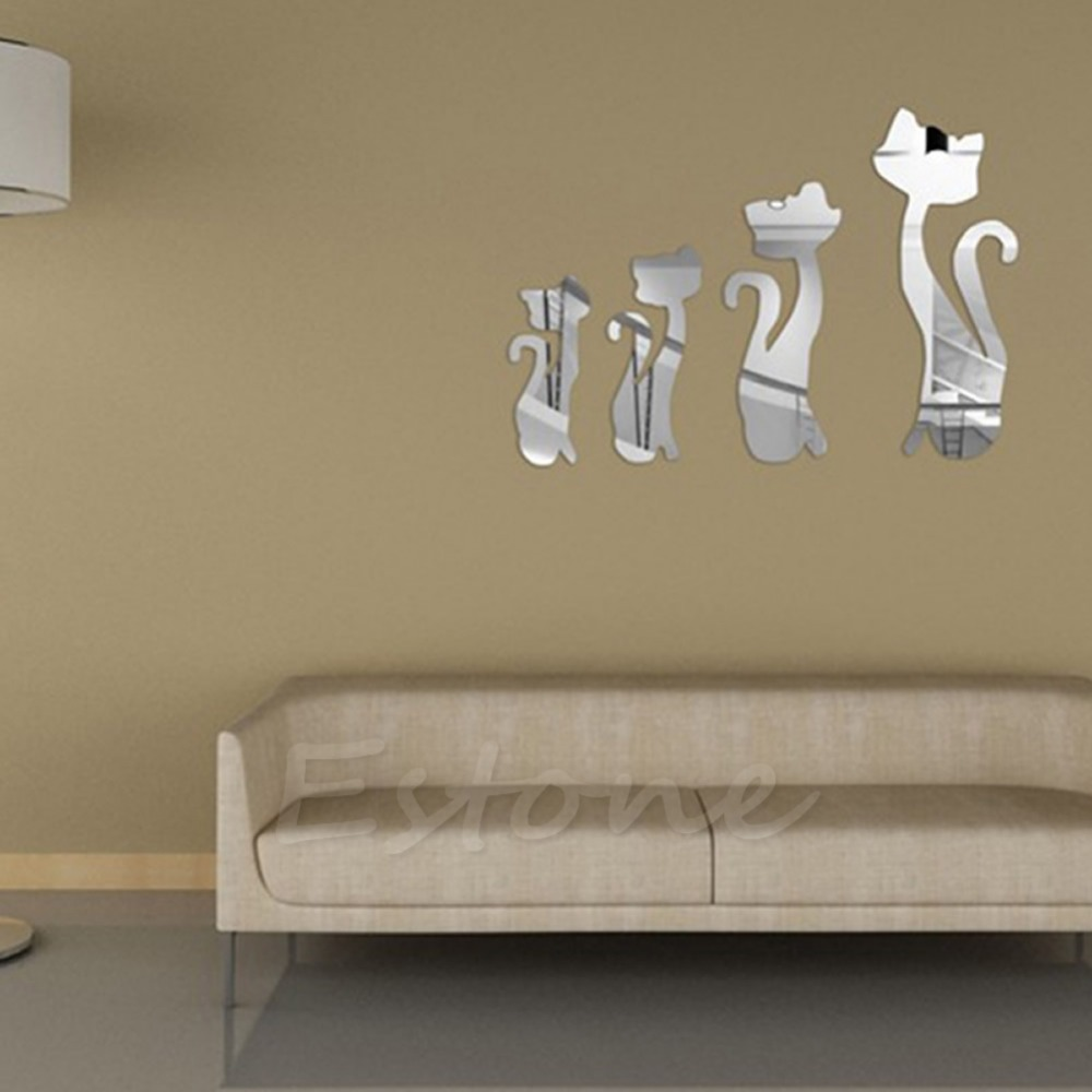 F85 Free Shipping 4 Pcs Cute Cats 3D Acrylic Mirror Wall Stickers Home Mural DIY Decal Art Decor