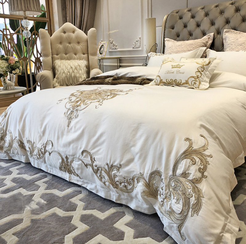 Super King Size Duvet Cover Egyptian Cotton Sweetgalas: Luxury White Golden 100S Egyptian Cotton Royal Bedding