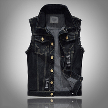 Men Casual Sleeveless Jacket Black Mens Denim Vest Fashion Streetwear Slim Fit Man Waistcoat Plus Size