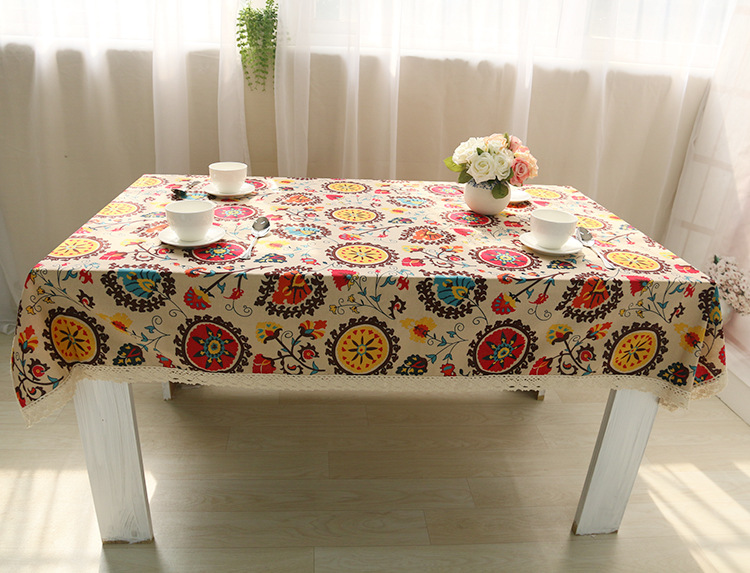 National wind explosion models cotton linen tablecloths Sun flower table cloth tablecloth Table Covers for Wedding Party Home 16