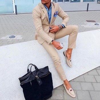 New Fashion 2 Pieces Khaki Slim Fit Mens Suits (Jacket+Pants) Groom Tuxedos Groomsman Best Man Suit Wedding Suits for Men