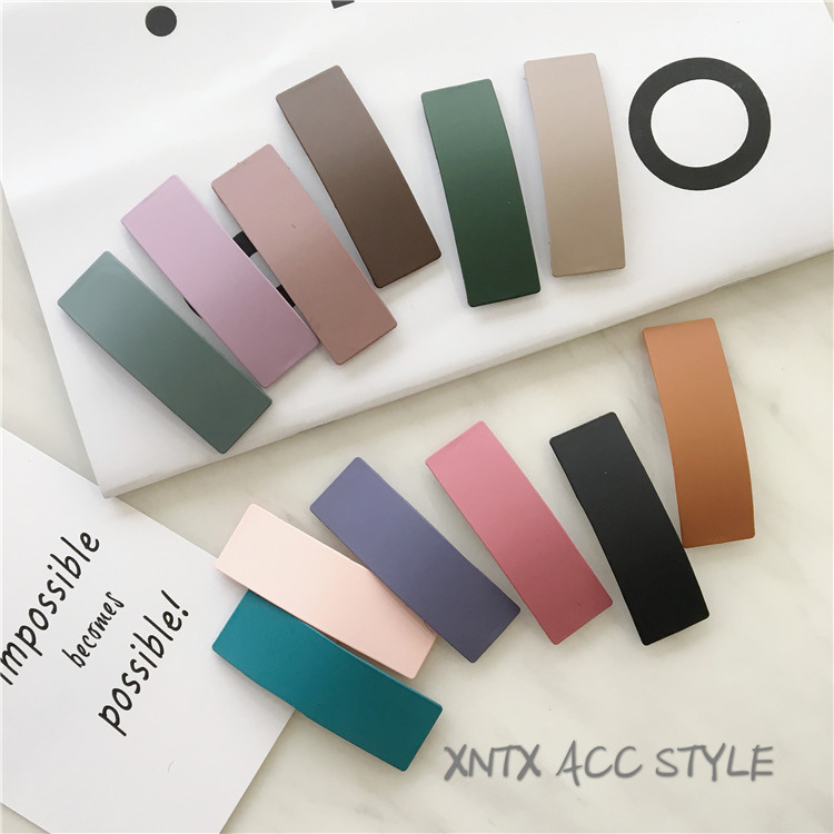 Square Temperament Frosted Candy Color Geometry BB Clip Side Clip Bangs Clip Hairpin Girl Children Hair Accessories Headdress