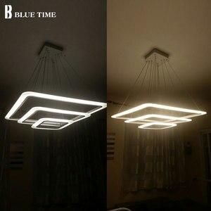 Image 5 - Квадратный круглый современный светодиодный подвесной светильник, потолочный светильник для столовой, гостиной, спальни, домашнее освещение