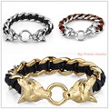 "8.66""*16mm New Punk Gift Biker Jewelry 316L Stainless Steel Silver Gold Wolf Clasp Men's Bracelet Genuine Leather Black Brown"