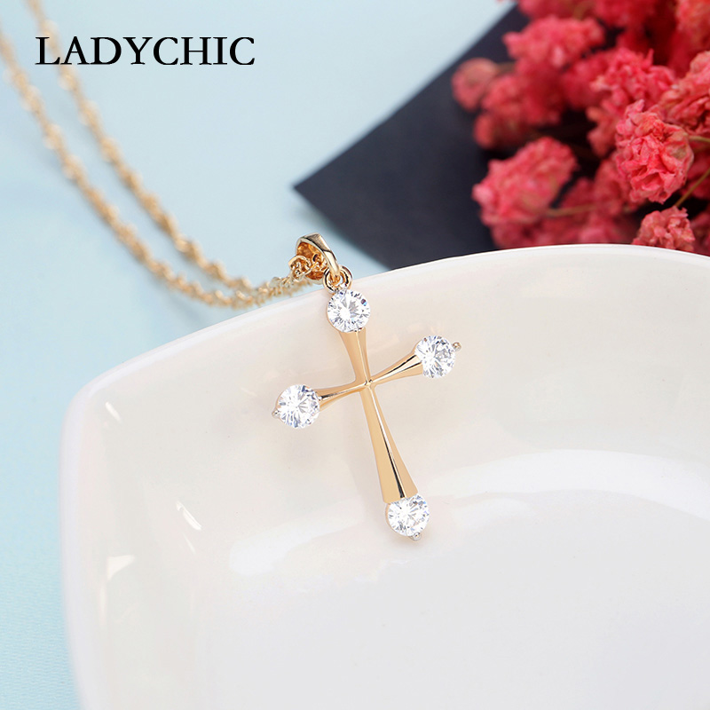 LADYCHIC Simple Cubic Zirconia Gold Color Cross Pendant Fashion Cute Cross Necklace Women Prayer Christian Jesus Jewelry LN1073
