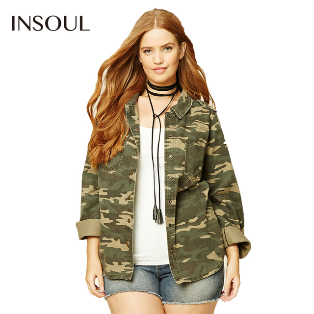 3c87b248d INSOUL Autumn Women Plus Size Lightweight Camouflage Jacket Military Camo  Print Autumn Outfits Outwear Boyfriend Denim Coats