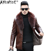 AYUNSUE Genuine Sheepskin Leather Jacket Men Mink Collar Wool Liner Men's Sheepskin Coat Natural Fox Fur Collar F 7156 KJ1436