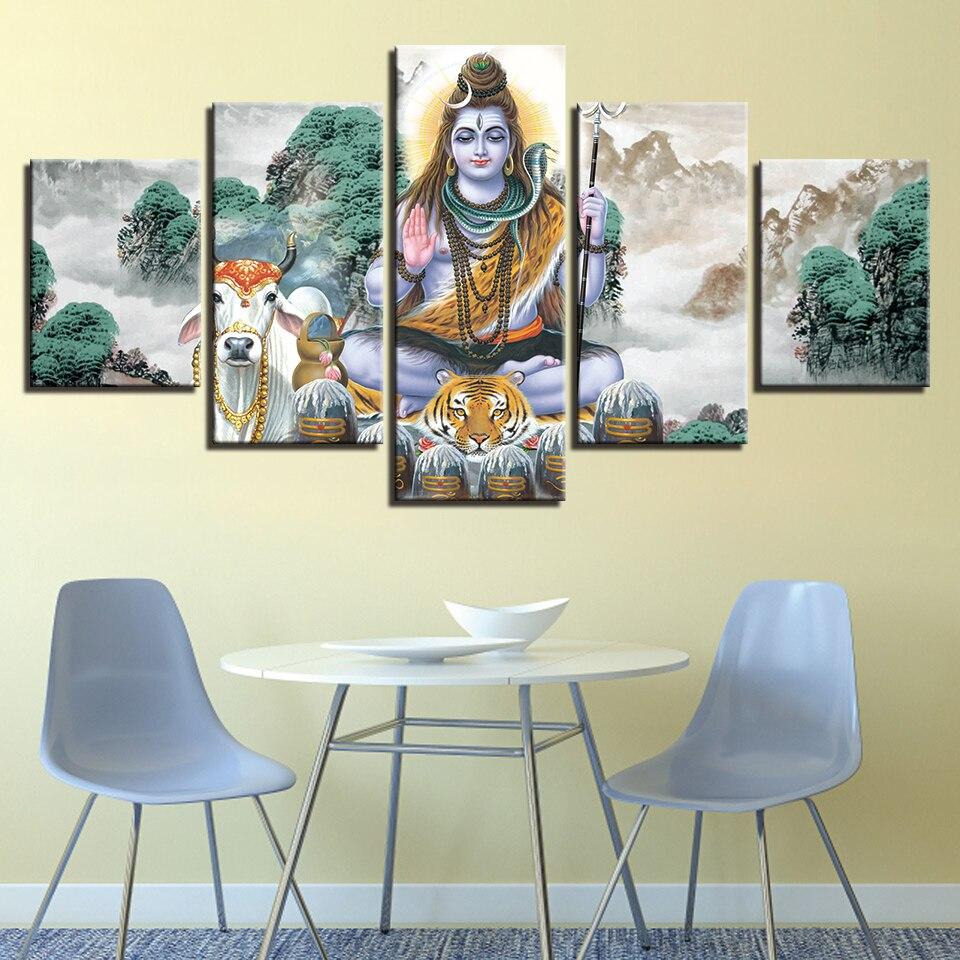 Bricolage diamant peinture kits paysage 5 pièce hindou seigneur Shiva et Bull Nandi chambre décor mur Art diamant mémoire artisanat plein forage