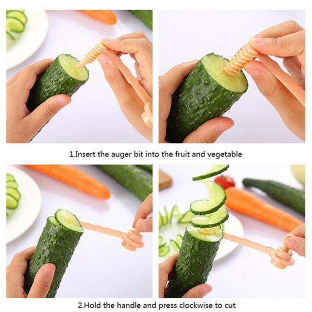NEW Kitchen DIY Vegetables Potato Cutter cuke Carrot Spiral Slicer Cutting Modes Cooking Tools Fruit Manual slicing knife 4
