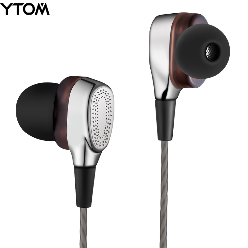 YTOM T9 Pro Metal Earphone HIFI Super Bass Headphones earbuds with Mic Dual Driver Unit Noise-isolating headset for phone MP3