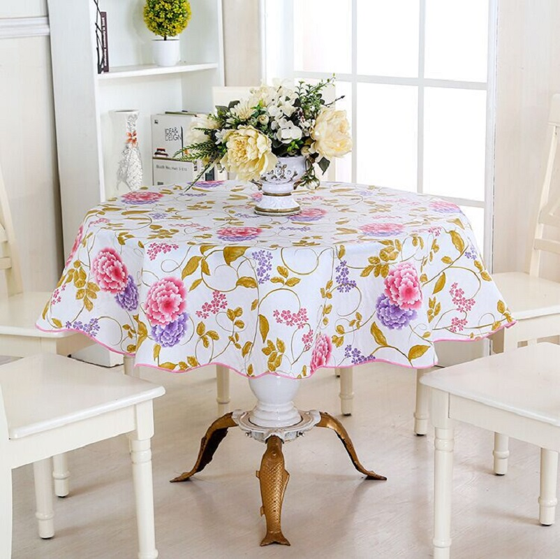 Good Pastoral Tablecloth PVC Table Cloth Colorful Floral Table Cover Waterproof  Tablecloths For Home Round 150*150cm,180*180cm Mantel