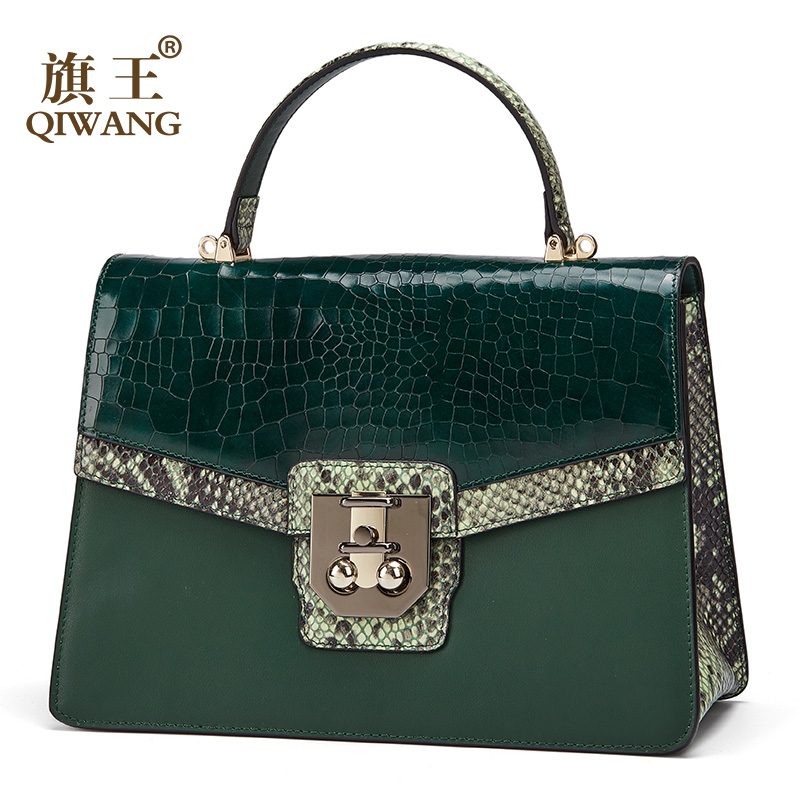 100% Genuine Leather Ladies Hand Square Bags Qiwang Cowhide Women Small Handbags 2019 Elegant Shoulder Crossbody Bags For Women