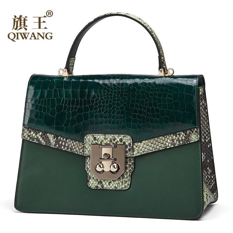 c5d846b98a95e Qiwang Original 100% Echtem Leder Tasche Rindsleder Frauen Handtaschen Hohe  Qualität Grün Crossbody Schulter Taschen Schlange Muster 2019